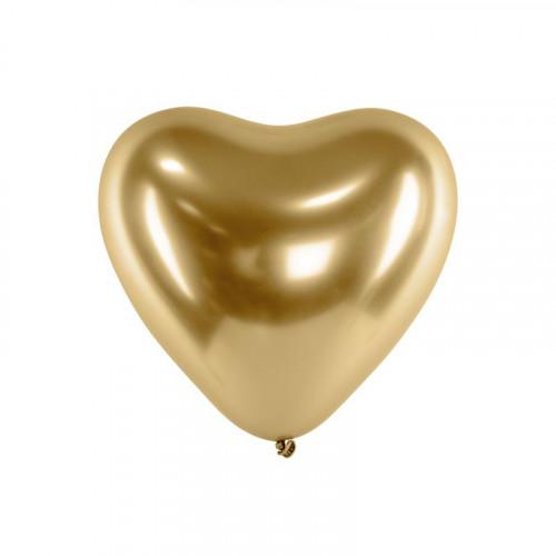 Metallic Ballonger Hjärta Guld, 50 st - PartyDeco