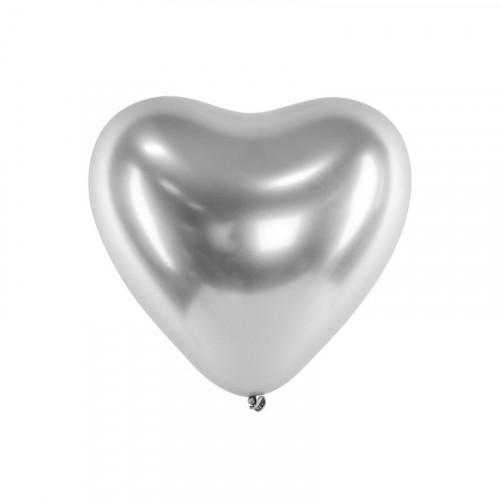 Metallic Ballonger Hjärta Silver, 50 st - PartyDeco