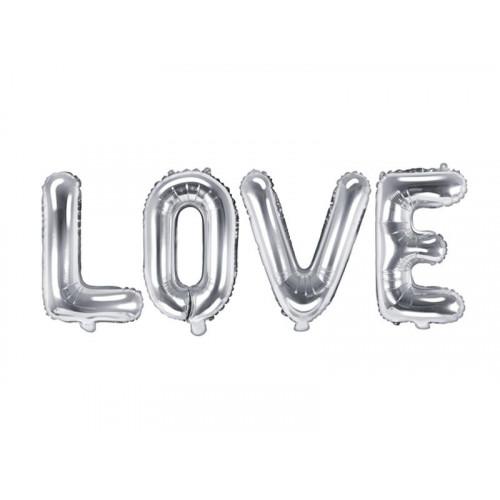 Folieballonger LOVE Silver - PartyDeco