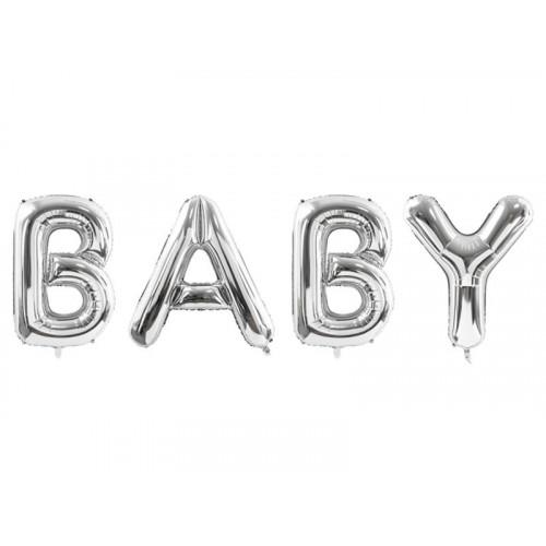 Folieballong Baby Stor, Silver - PartyDeco