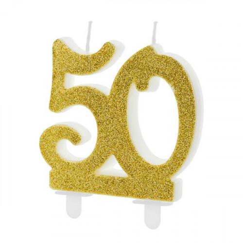 Tårtljus, Sifferljus 50 guld PartyDeco