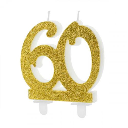 Tårtljus, Sifferljus 60, Guld - PartyDeco