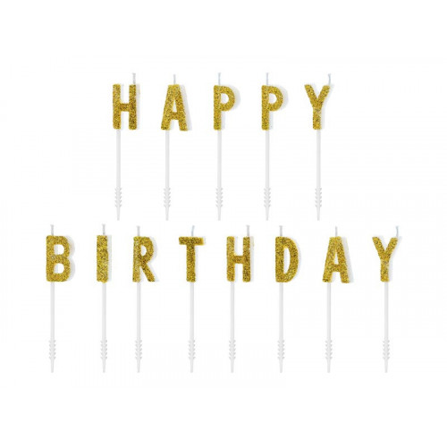 Tårtljus Happy Birthday, guld - PartyDeco