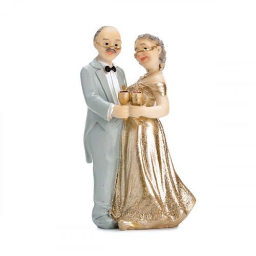 PartyDeco Tårtdekoration Brudpar, guldbröllop