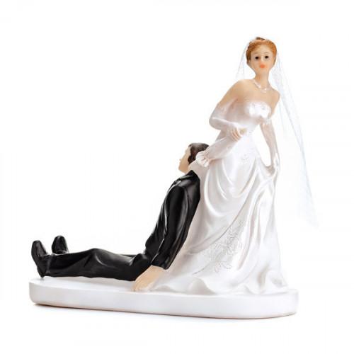 Tårtdekoration Brudpar, nygifta med paraply - PartyDeco