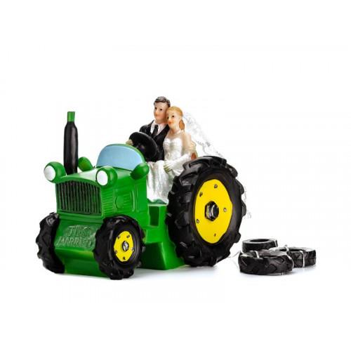 PartyDeco Tårtdekoration Brudpar, nygifta i traktor, 11 cm
