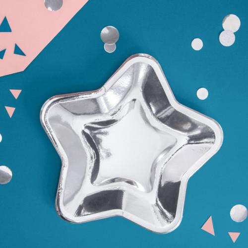 PartyDeco Papperstallrikar, Stjärna silver 23 cm