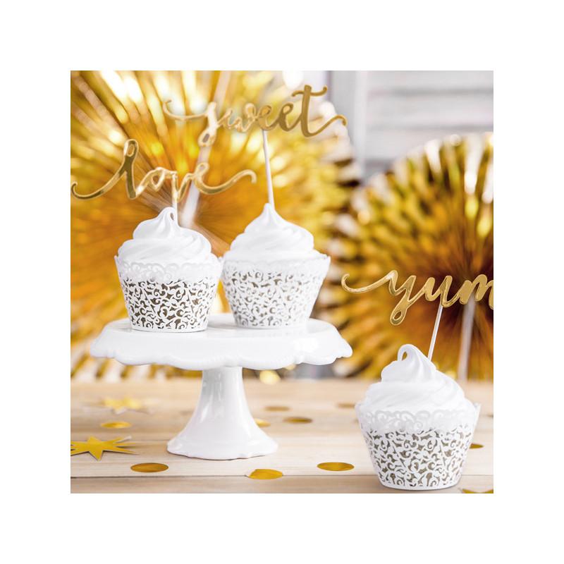 PartyDeco Cupcake Wrappers, vit pärlemo