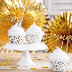 PartyDeco Cupcake Wrappers, spets i vit pärlemo