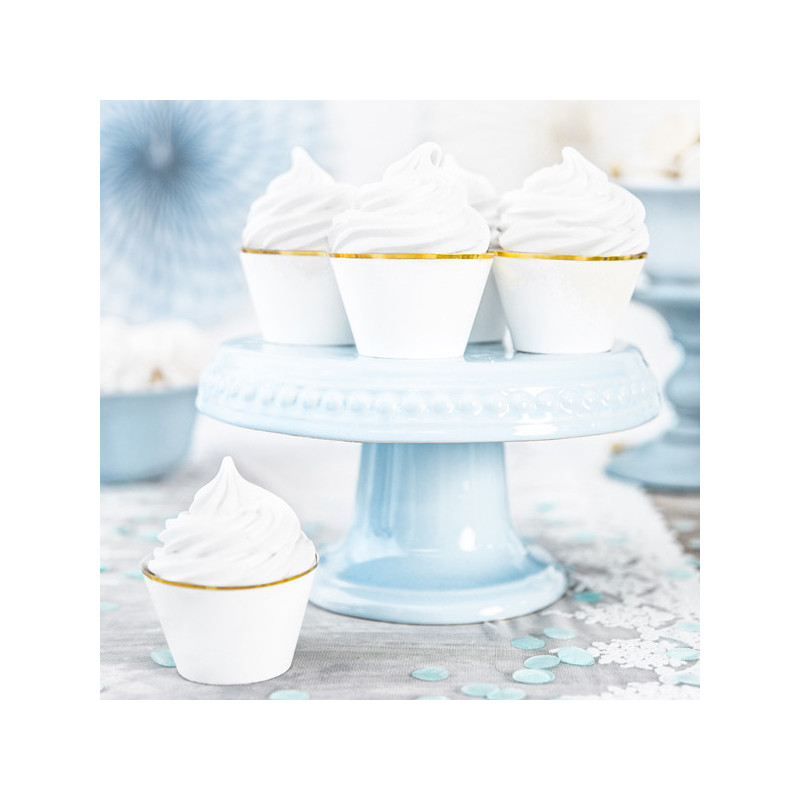 PartyDeco Cupcake Wrappers Vit guld