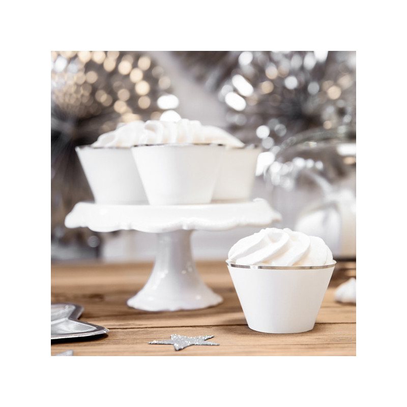 PartyDeco Cupcake Wrappers Vit silverkant