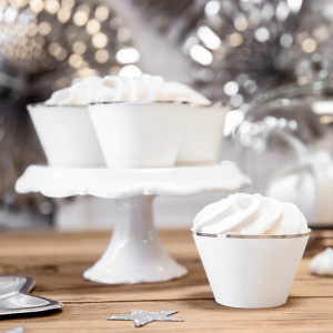 PartyDeco Cupcake Wrappers Vit med silverkant