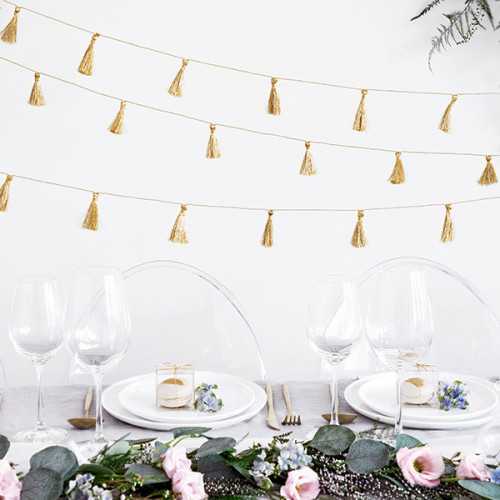 Girlang tofsar i guld - PartyDeco