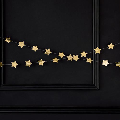 Girlang Stjärnor i Guld - PartyDeco