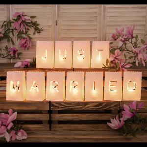 Ljuslykta, lanterna, Just Married - PartyDeco