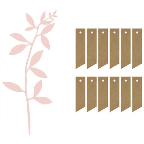 Pappersdekoration Gren med Namnlapp, Ljusrosa - PartyDeco