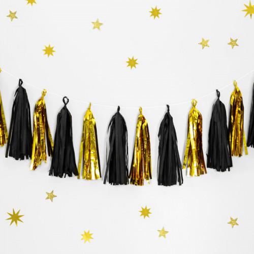 Girlang Tassel, guld och svart - PartyDeco