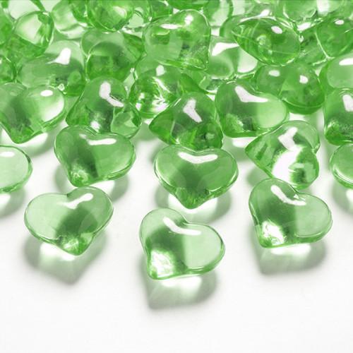 Diamantkonfetti Hjärtan Ljusgrön - PartyDeco