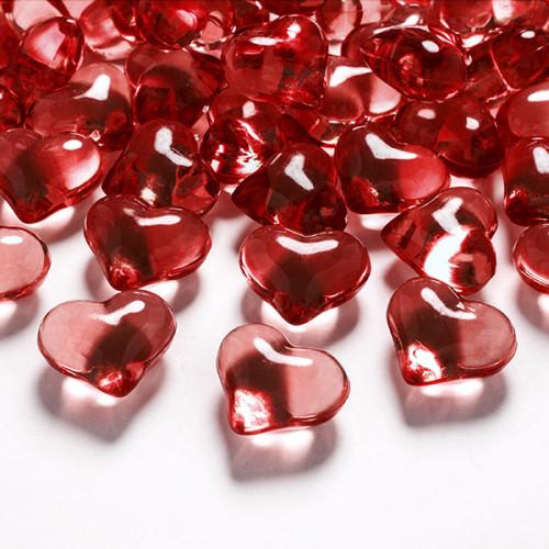 Diamantkonfetti Hjärtan Röda - PartyDeco