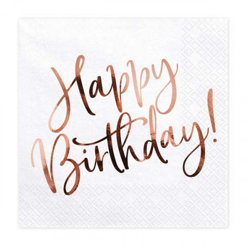 Servetter Happy Birthday roséguld
