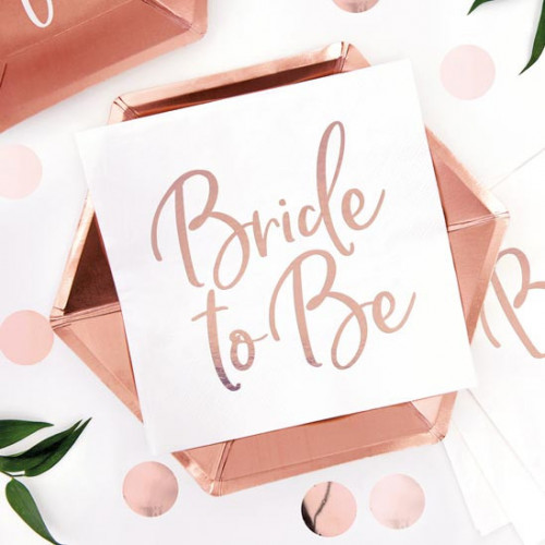Servetter Bride to Be, roséguld - Partydeco