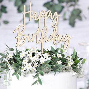 Cake Topper Happy Birthday, Trä