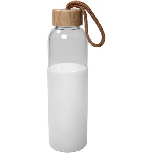 Glasflaska med silikon, vit