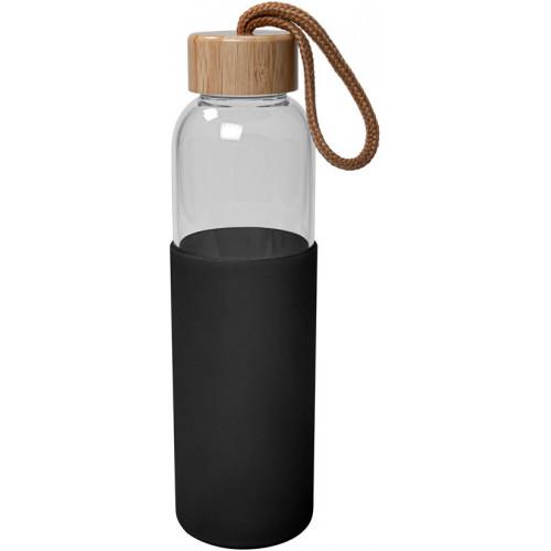 Glasflaska med silikon, svart