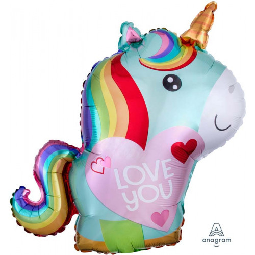 Folieballong Unicorn Love You