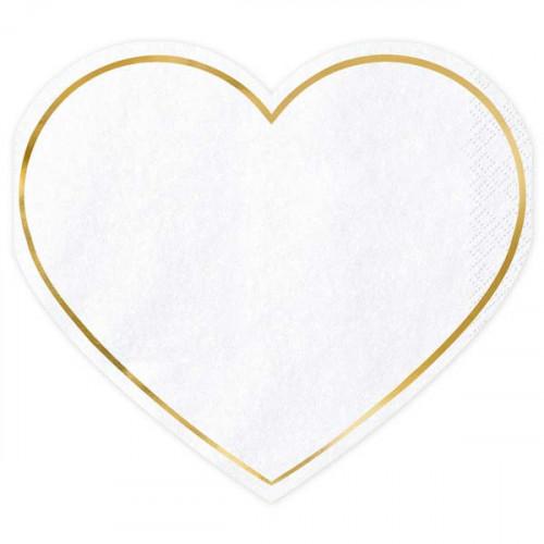 Servetter Hjärta med Guldkant