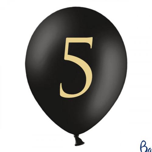 Svarta Ballonger Siffran 5, 50-pack - PartyDeco