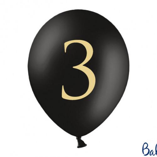 Svarta Ballonger Siffran 3, 50-pack - PartyDeco