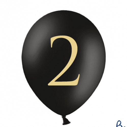 Svarta Ballonger Siffran 2, 50-pack - PartyDeco