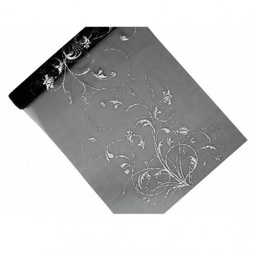 Mönstrat Organza, Svart/Silver 0.36x9 m - PartyDeco