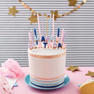 Tårtljus Happy Birthday Pastell