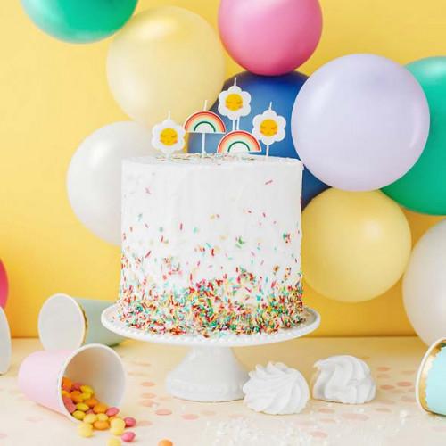 Tårtljus Regnbåge & Blomma