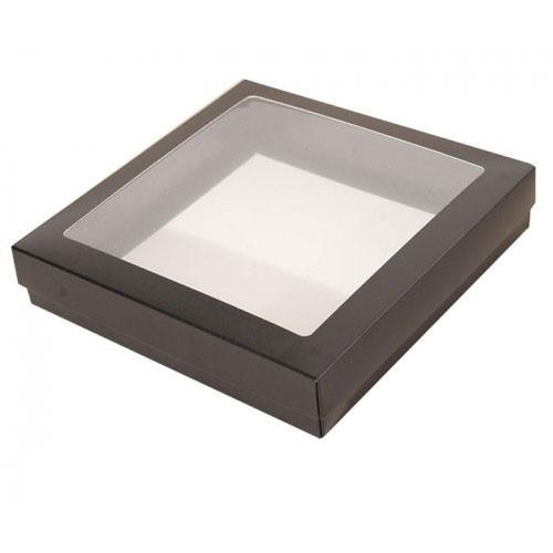 Svart pralinask med fönster 12,5x12,5 cm - 3 st