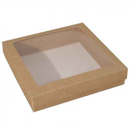 Pralinask med fönster, natur, 12,5x12,5 cm - 3 st