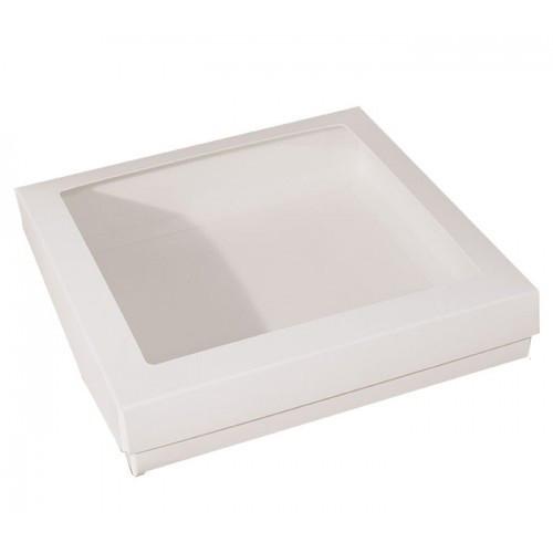 Vit pralinask med fönster 12,5x12,5 cm - 3 st