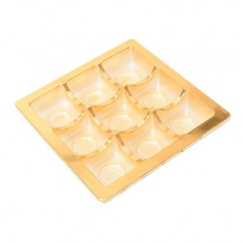Insats i guld till pralinask 9 praliner - 3 st