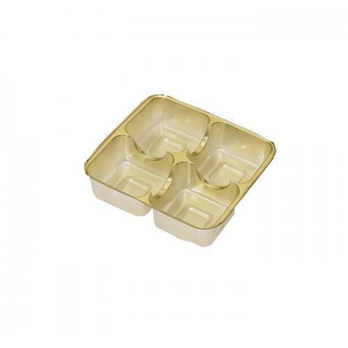 Insats i guld till pralinask 4 praliner - 3 st