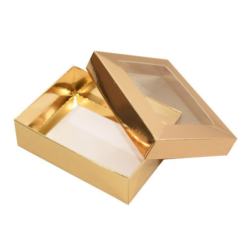 Guldfärgad pralinask med fönster 11x8 cm - 3 st