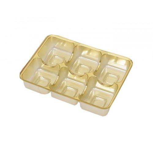 Insats i guld till pralinask 6 praliner - 3 st