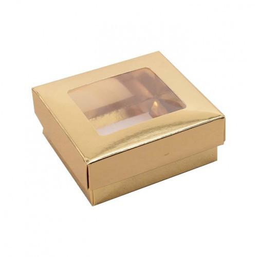 Pralinask i guld med fönster ca 8x8 cm - 3 st