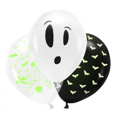 Glow in the Dark ballonger, Halloween - 3 st