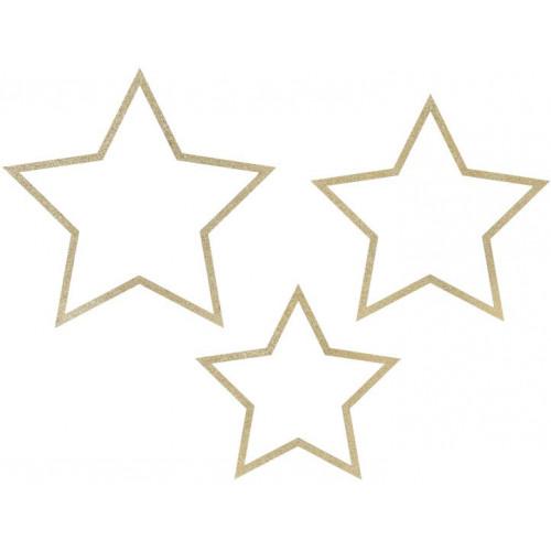 Dekorationsstjärnor i papp, Guld - PartyDeco