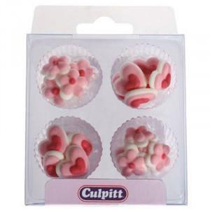 Sockderdekorationer, Mini hjärtan och blommor - Culpitt