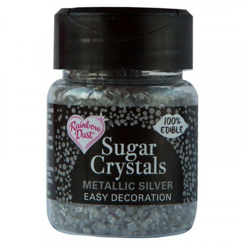 Rainbow Dust - Sugar Crystals, Metall Silver, 50 g