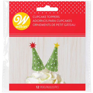 Cupcake Toppers Julgran 12 st  - Wilton