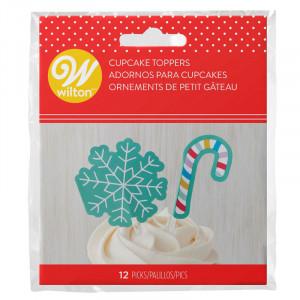 Cupcake Toppers Snöflinga/Polkagris 12 st - Wilton